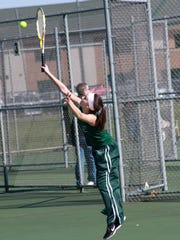 Freshman Keara Wheeler plays at No. 2 singles for Pennfield in action against Galesburg-Augusta earlier this season.