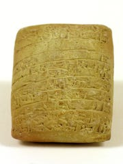Small Babylonian clay tablet which contains a tax list
