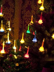 Christmas trees decorated with vintage bubble lights.