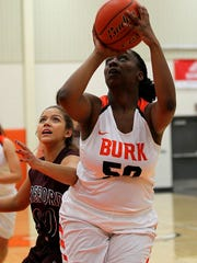 Burkburnett's Kyndall Hightower goes for the layup Thursday afternoon in the Lady Bulldogs' 54-50 victory.