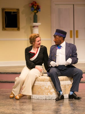 "Student actors Kristen Kittel and Elijah Coleman in a 2016 production of ""Absolutely! (Perhaps)."" Photo by T Charles Erickson for Mason Gross School of the Arts."