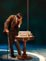 "Michael Gotch as John Merrick, the Elephant Man, in the University of Delaware's REP production of ""The Elephant Man."""