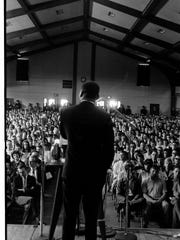 Martin Luther King Jr. speaks May 12, 1967, to a crowd