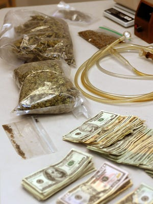 Marijuana and cash seized by police officials in Bergen County.