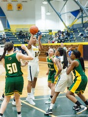 BCC freshman Arieonna Ware goes up for jump shot Friday afternoon during the Central Fieldhouse Classic.