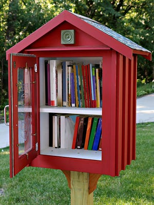 A tiny library in a front yard erected by the homeowner to promote reading and literacy.