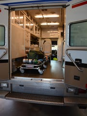 A Collier County EMS ambulance sits inside Marco Island's Station 50.