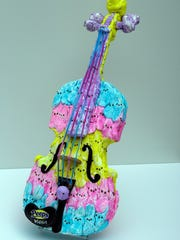 """""""The Peeps Violin,"""" by Korinthia Klein of Milwaukee, was displayed at a previous PEEPS exhibit at the Racine Art Museum."""