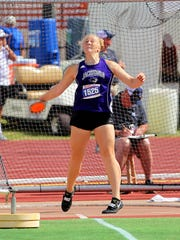 Baylee Thompson of Jacksboro finishes in second with a throw of 122.10 feet in the girls 3A discus Friday morning at the UIL Track and Field State Championships being held at the University of Texas Mike Myers Stadium.