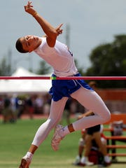 Duriell Taylor of San Angelo Central clears the bar in the 6A boys high jump Saturday during the UIL Track and Field Championships held at the University of Texas' Mike Myers Stadium.