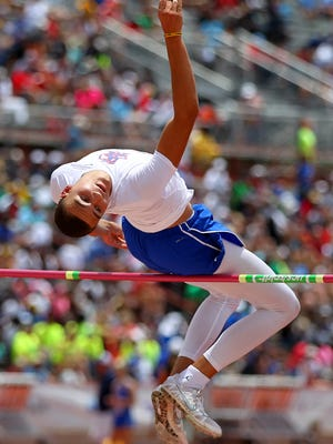Duriel Taylor of San Angelo Central clears  the bar in the 6A boys high jump Saturday during the UIL Track and Field Championships held at the University of Texas Mike Myers Stadium.