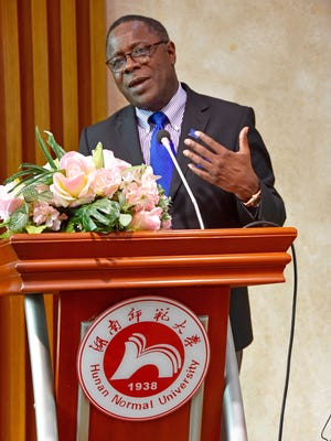 MTSU President Sidney A. McPhee lectures to students Tuesday, May 15, at Hunan Normal University in Changsha, China, about the values and differences in the American higher education system.