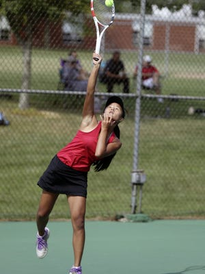 Big Walnut's Kina Ehlers serves during a first-singles match against visiting Delaware on Aug. 18. Ehlers helped the Golden Eagles win the OCC-Capital championship with a 7-0 record, capped by a 5-0 victory over Canal Winchester on Sept. 8.
