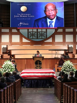 Rev. Dr. Bernice King offers a prayer at the start of the service during the funeral for the late Rep. John Lewis, D-Ga., at Ebenezer Baptist Church in Atlanta, Thursday, July 30, 2020.