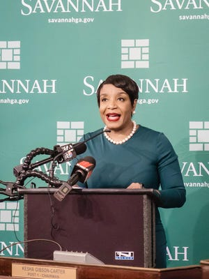 Alberwoman Kesha Gibson-Carter speaks Tuesday afternoon during a press conference at Savannah City Hall. Several of her fellow council members filed an ethics complaint against her.