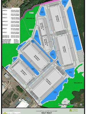 Conceptual Master Plan prepared for VanTrust. VanTrust Real Estate, based out of Jacksonville, Florida, bought the 515-acre parcel that lies adjacent to the current Bryan County Interstate Centre I on I-16 and will develop the property and build the buildings.