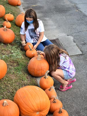Sisters McKenna and Laney Anderson search for the right pumpkin at the Coastal Community Christian Church pumpkin patch. The church fundraiser will be open Monday through Friday from 11 a.m. to 7 p.m., Saturdays from 10 a.m. to 8 p.m. and Sunday from 12:30 to 5 p.m. or until the pumpkins are gone. The church is at 10770 Ford Ave., Richmond Hill.