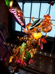 Three-dimensional art by Warren Muller hangs in the lobby at The Prospector Theater in Ridgefield, Conn.