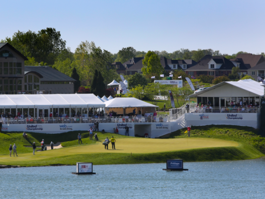 The hospitality tents situated along the 18th green during the United Leasing & Finance Championship at Victoria National Golf Club in Newburgh, Ind.