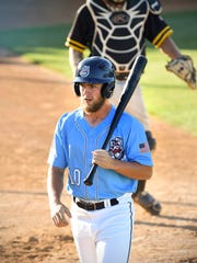 St. Cloud Rox Drew Avans walks to the dugout after