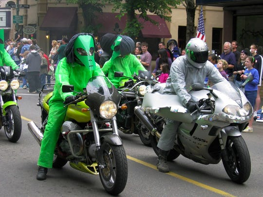 One highlight of the UFO Festival is the UFO Costume Parade featuring walkers, bikers, floats, live music and more. It begins at 2 p.m. Saturday, May 14, in downtown McMinnville.