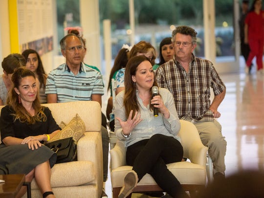"""Kristel Laiblin, executive producer of the popular Netflix series """"13 Reason Why"""" speaks during an event held at Sunnylands discussing and exploring how various cultures celebrate death through ceremony."""