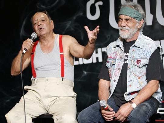 Comedians Cheech Marin, left, and Tommy Chong answer