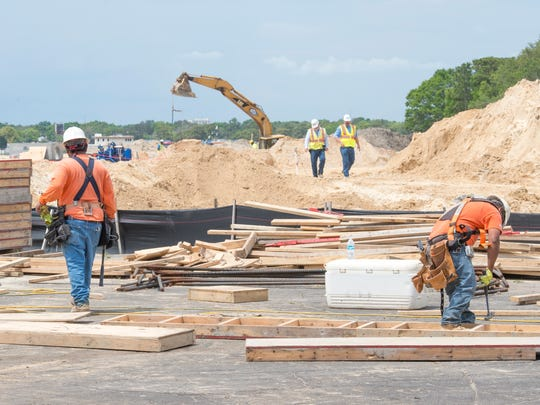 Construction continues on the VT Mobile Aerospace Engineering hangar at the Pensacola International Airport in Pensacola on Wednesday, April 12, 2017.
