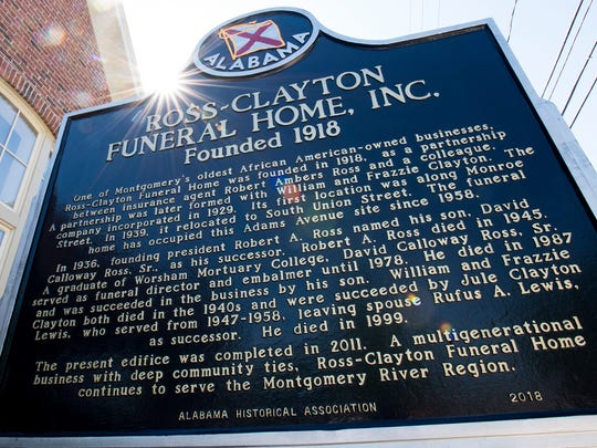 A historic marker at Ross - Clayton Funeral Home in Montgomery, Ala. on Wednesday April 18, 2018.
