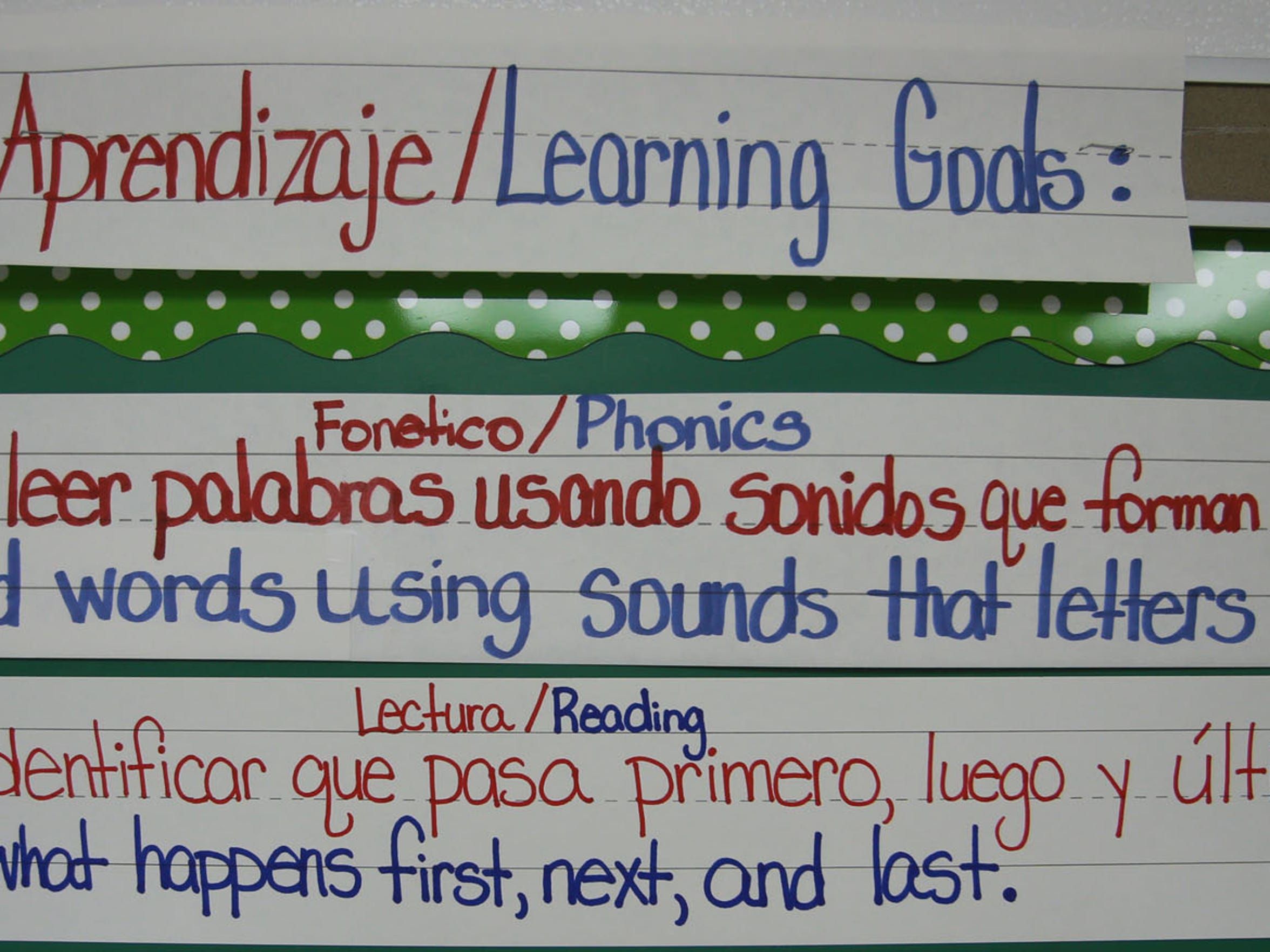 Phonics, reading lessons are displayed in English and Spanish.