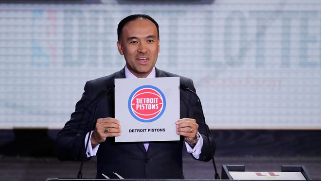 NBA Deputy Commissioner Mark Tatum announces the results for the Detroit Pistons at the NBA draft lottery Tuesday, May 16, 2017 in New York.