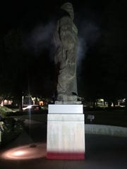 The College of the Sequoias giant statue, located on