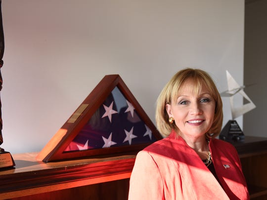 Lt. Governor Kim Guadagno poses for photos in her Trenton office on Thursday December 21, 2017.