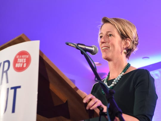 Congressional candidate Zephyr Teachout gives her concession speech at the Rhinecliff Hotel.