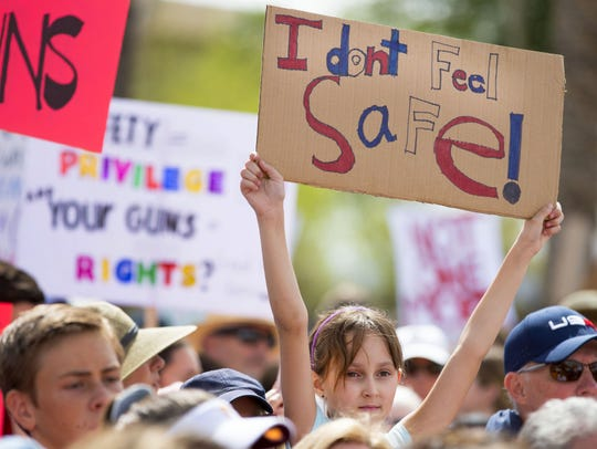 Mila Kaye, 9, of Phoenix, Arizona, supports gun control