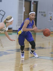 Ontario's Nashail Shelby dribbles the ball while playing