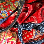 Detail of Vera Bradley bags; most patterns are retired from the market two years after they are introduced.