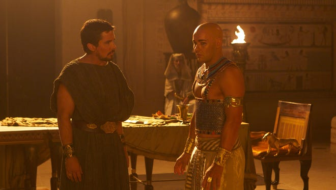 Christian Bale, left, plays Moses and Joel Edgerton portrays Egyptian Pharaoh Ramses in the upcoming film, 'Exodus: Gods and Kings.'