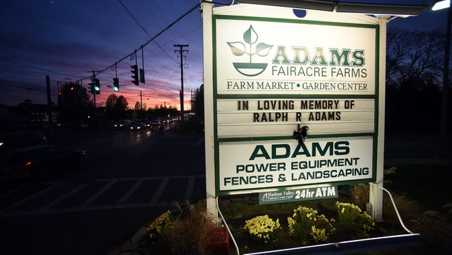 A message pays tribute to the late Ralph R. Adams on Tuesday at the Adams Fairacre Farms store on Route 44 in the Town of Poughkeepsie.