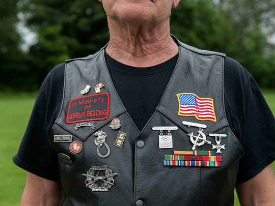 Steve Redding wears the vest of his son, Jeremy, Sunday, May 28, 2017. The annual ride, put on by the Pennsylvania Wounded Warriors, helps raise money for veterans in need.