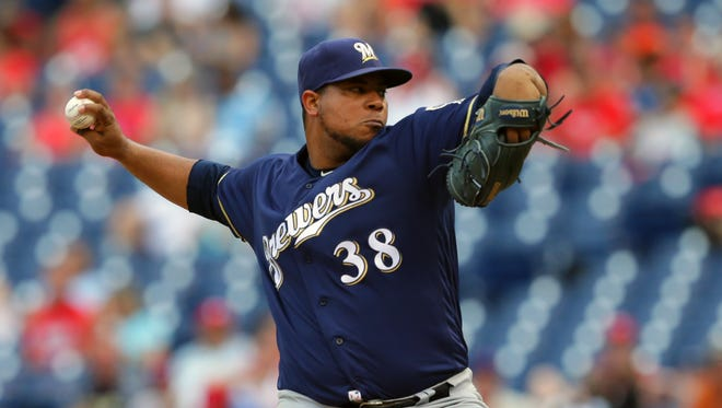 Wily Peralta pitches against the Phillies on Sunday. He threw two innings, allowing one hit and two walks and striking out four.