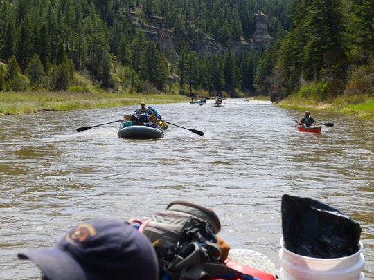 A Smith River traffic jam. Outfitter gear boats get an early start on the river.