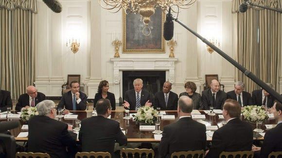 President Trump speaks Feb. 9, 2017, during a meeting