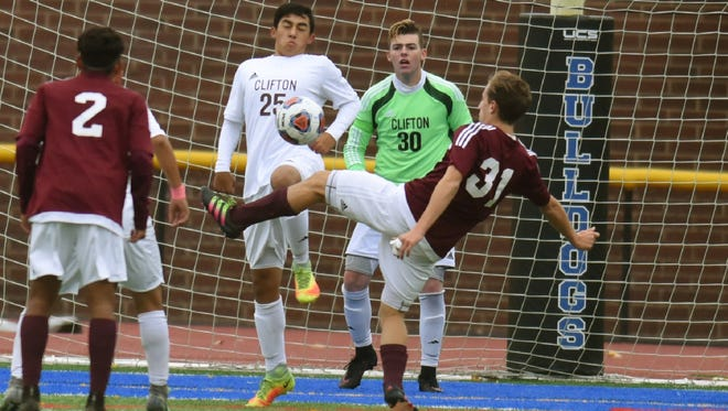 Jake Padula (30) made five saves as Clifton shut out Lakeland, 4-0, in the Passaic County tournament semifinals.