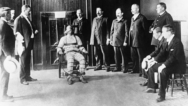 The death chamber at Sing Sing prison in Ossining with the famous electric chair in operation pictured around June 11, 1930.
