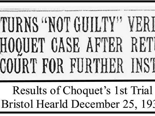 Headline from Bristol Herald, Dec. 25, 1931, about Joseph Choquet's first trial.