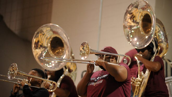 The Eastern Shore pep band plays during Hawk Hysteria on Friday, Oct. 14, 2016 at the William P. Hytche Athletic Center.
