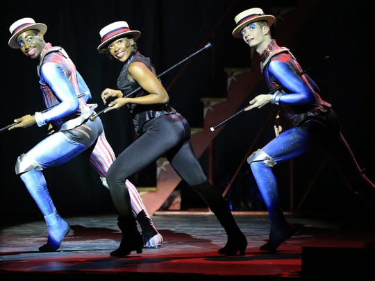 """The Manson Trio Lean in """"Pippin,"""" which runs through Sunday at the Playhouse on Rodney Square."""