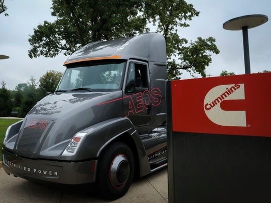 Cummins unveiled a concept all-electric truck Aug. 29 in Columbus. It can operate for up to 100 miles on a full charge.