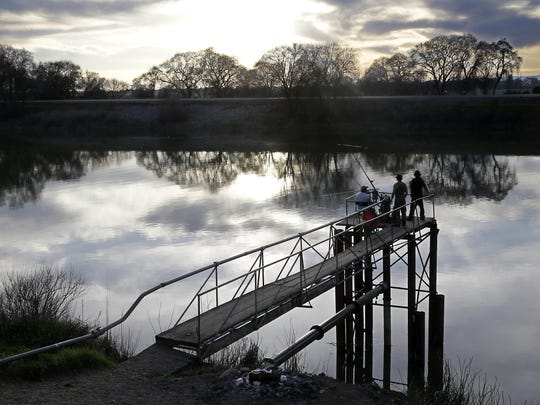 In this 2016 file photo, people try to catch fish along the Sacramento River in the Sacramento-San Joaquin Delta, near Courtland.